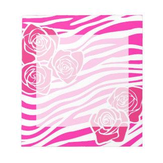 Bloc-note Motif de zèbre + bloc - notes rose de roses