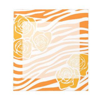 Bloc-note Motif de zèbre + roses oranges