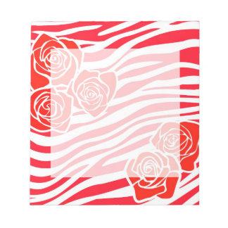 Bloc-note Motif de zèbre + roses rouges