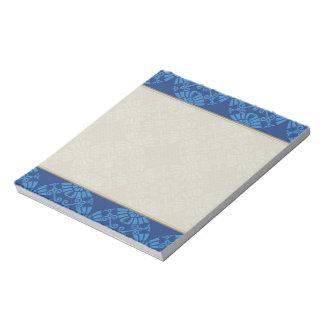 Bloc-note Motif mignon de médaillon de fleur dans le bleu