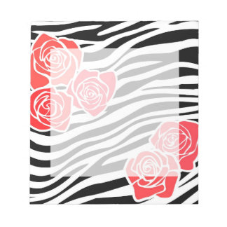 Bloc-note Motif noir et blanc de zèbre + roses rouges