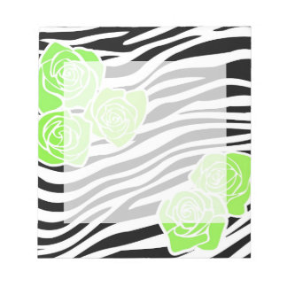 Bloc-note Motif noir et blanc de zèbre + roses verts