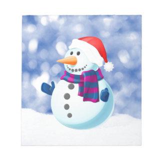 Bloc-note Neige de Joyeux Noël d'hiver de bonhomme de neige