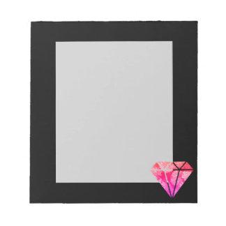 Bloc-note noir orange rose floral élégant élégant de diamant