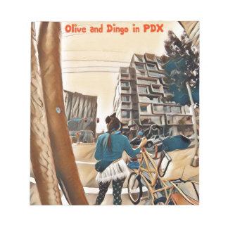 Bloc-note Olive et dingo dans PDX