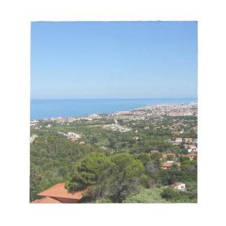 Bloc-note Panorama aérien spectaculaire de ville de