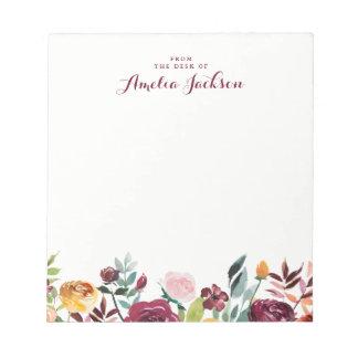 Bloc-note Papeterie personnalisée florale de Bourgogne