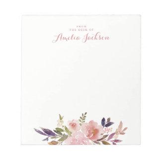 Bloc-note Papeterie personnalisée par rose floral