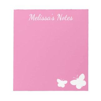 Bloc-note Papillons mignons de rose et blancs personnalisés