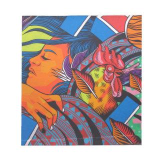 Bloc-note Peinture murale de mur de femme et de poulet