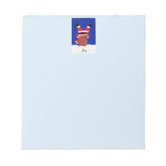 Bloc-note Père Noël dans l'en-tête de conception de cheminée