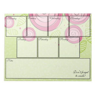 Bloc-note Planificateur hebdomadaire de bloc - notes rose de