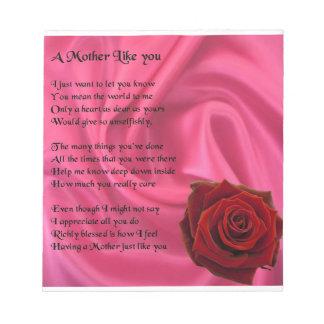 Bloc-note Poème de mère - conception rose de soie et de rose