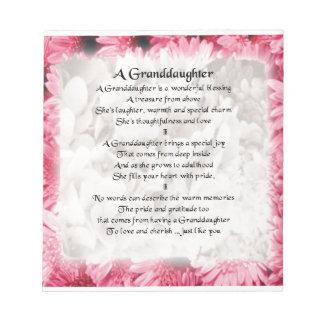 Bloc-note Poème de petite-fille - conception florale rose