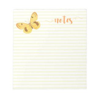 Bloc-note Rayures et papillon jaunes