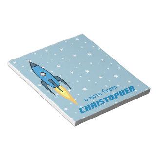 Bloc-note Rétro mignon bleu de Rocketship et d'étoiles
