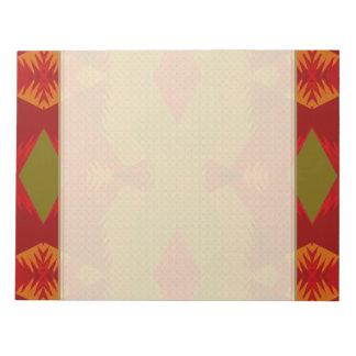 Bloc-note Rétro motif chaud en rouge olive d'or