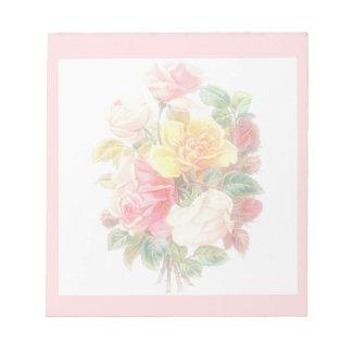 Bloc-note Roses vintages fanés
