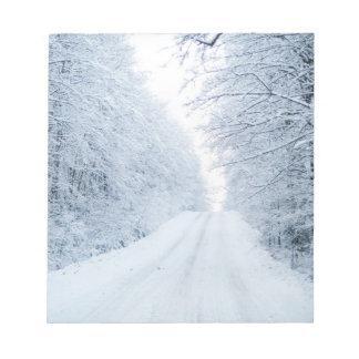 Bloc-note Scène de route de campagne d'hiver