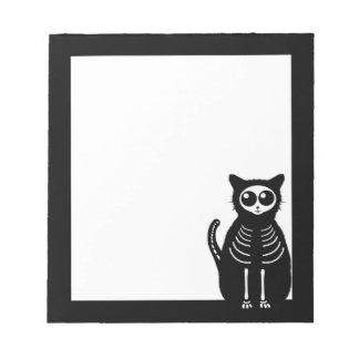 Bloc-note Squelette mignon de chat de bande dessinée de