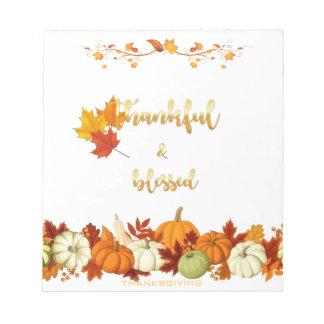 Bloc-note Thanksgiving d'or reconnaissant et béni de