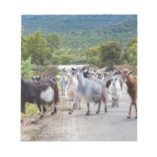 Bloc-note Troupeau de chèvres de montagne marchant sur la