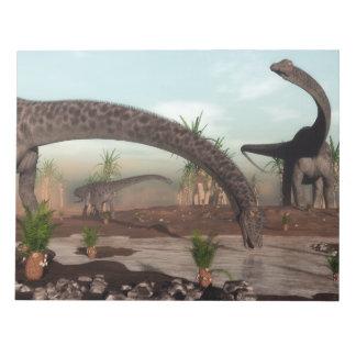 Bloc-note Troupeau de dinosaures de Diplodocus allant boire