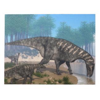 Bloc-note Troupeau de dinosaures d'Iguanodon au rivage