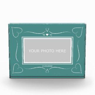 Bloc Photo Bloc turquoise élégant de photo de monogramme de
