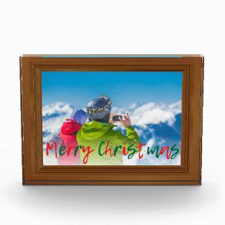 Bloc Photo Faux rouge de vert de Joyeux Noël de cadre de