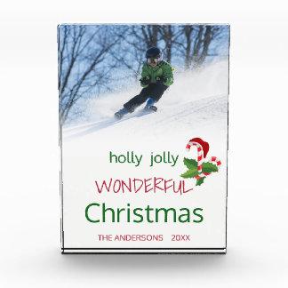 Bloc Photo Monogramme merveilleux gai de Noël de houx