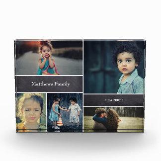 Bloc Photo Nom de famille personnalisé, collage de 5 photos