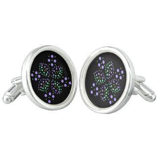 Bloemen en cirkels in paars en groen manchetknopen