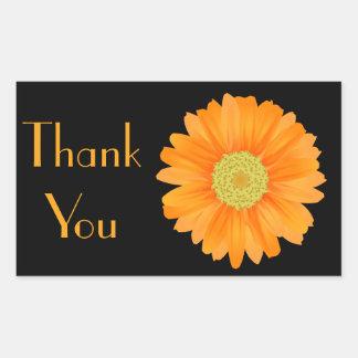 Bloemen Oranje Gerbera Daisy Flower Black Rechthoekige Sticker
