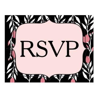 Bloemen Roze Wit RSVP en Zwart Briefkaart