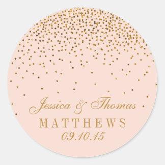 Bloos de Roze & Gouden Gunst van het Huwelijk van Ronde Sticker