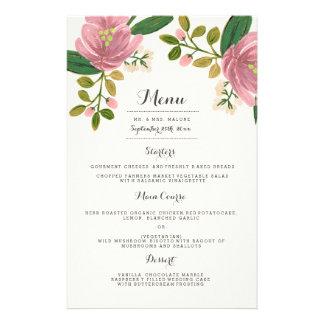 Bloos het Menu van het Diner van het Huwelijk van Flyer 14 X 21,6 Cm