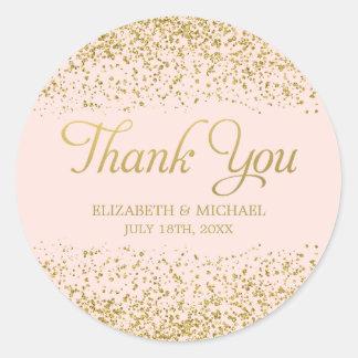 Bloos Roze Goud Faux schitteren Huwelijk dank u Ronde Sticker