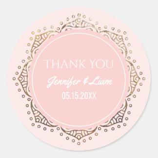 Bloos Roze Gouden Boho Huwelijk | danken u Ronde Sticker