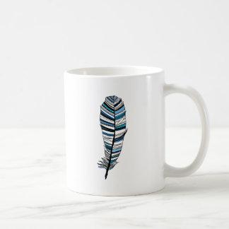 Blue Aztec Feather Mug Blanc