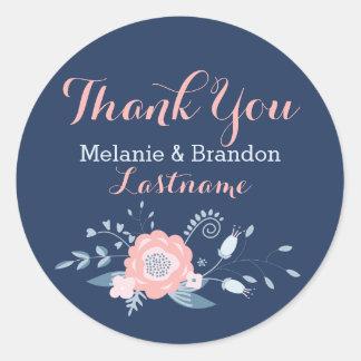 Bluen et autocollants bleus de Merci de mariage