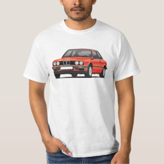 BMW E30 (3-series), rouge métallique, illustration T-shirt