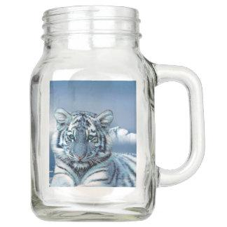 Bocal Mason Tigre blanc bleu