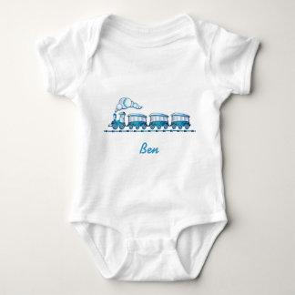 Body Babybody blanc avec le train bleu et une étiquette
