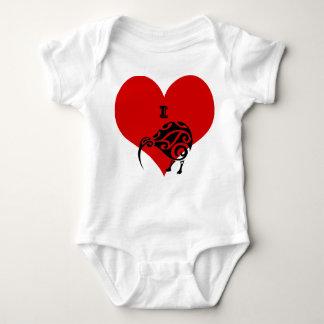 Body habillement de costume de bébé de kiwi du coeur i