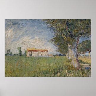 Boerderij in een Poster van het tarwegebied