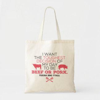 Boeuf ou porc ? Sac fourre-tout à BBQ du Texas