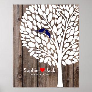 bois de bleu marine d'arbre de livre d'invité de