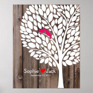 bois de rose d'arbre de livre d'invité de mariage