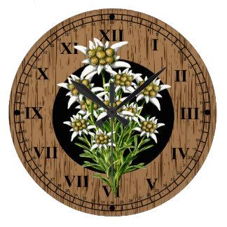 Bois et edelweiss de Faux de regard de Vieux Monde Grande Horloge Ronde